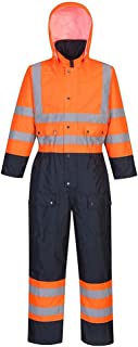 HI VIS Coverall Lined Hooded Overall Boilersuit Safety Workwear S - 3XL S485
