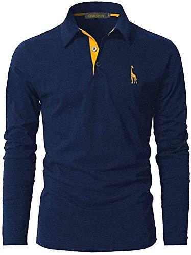GNRSPTY Polo Manga Larga Hombre Algodon Slim Fit Camiseta Colores de Contraste Bordado de Ciervo Deporte Basic Golf Negocios T-Shirt Top,Azul,XXL