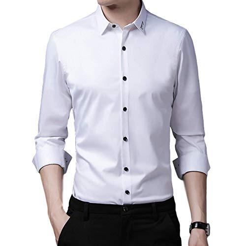 Camisa Informal de Negocios Relajada de Color sólido para Hombres Moda Simple Camisa clásica de Manga Larga de Gran tamaño Tops de Camisa Regular M