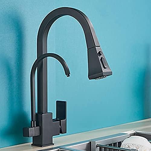 DZCGTP Grifos de Cocina de Agua Pura, Grifo de Filtro de purificación extraíble Trasero, Mezclador de 3 vías, Grifo de Cocina de Pared de grúa