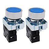 TWTADE / 2pcs 22mm Panel Mount 10A 440V SPST 1 NO Blue Momentary Push Button Switch Pushbutton Switches (Quality Assurance for 5 Years) XB2-10BN-BU