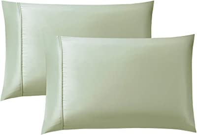 Bourina Pillowcase for Hair and Skin with Envelope Closure,Microfiber Polyester 2-Pack Pillow case, Queen 20×30 Inch Light Green