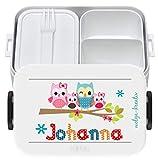 wolga-kreativ Brotdose Lunchbox Bento Box Kinder Eulenfamilie mit Namen Rosti Mepal Obsteinsatz für Mädchen Jungen personalisiert Brotbüchse Brotdosen Kindergarten Schule Schultüte füllen