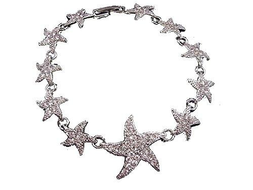Brazalete brazalete de estrella de mar con brillantes mar, verano y playa