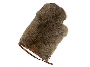 1 single Real Rabbit Fur Massage Mitt Brown One Size