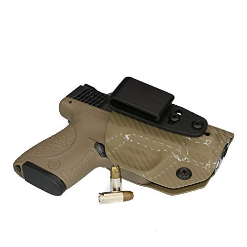 FoxX Holsters Deluxe Trapp Kydex IWB Holster Compatible for Smith & Wesson M&P Shield M2.0 Integrated Laser 9/40 Smallest Inside Waistband Holster Adjustable Cant & Retention (Carbon Fiber FDE)