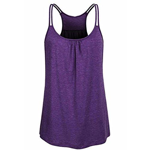 TUDUZ Damen Große Größe Camisole Rundhals Falten T-Shirt Weste Bluse Ärmellos Stretch Tunika Top(XXL,X-Lila)