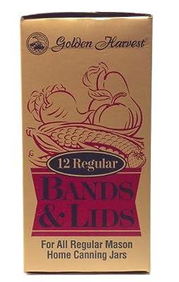Golden Harvest 12 Regular Bands and Lids for All Regular Mason Home Canning Jars