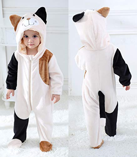 Tonwhar Unisex Baby Animal Cat Onesie Halloween Costume Kid's and Toddler's Autumn Winter Outfits Jumpsuit