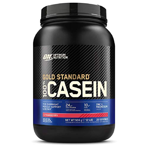 Optimum Nutrition Gold Standard Casein Slow Digesting Protein Powder with Zinc, Magnesium and Naturally Occuring Glutamine and Amino Acids, Strawberry Delight, 28 Servings, 0.9 kg, Packaging May Vary