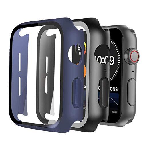 Hard Hülle kompatibel mit Apple Watch 44mm Serie SE/6/5/4, Ultra dünn HD gehärtetes Glas Displayschutz rundum mattierte Schutzhülle für iWatch SE 6/5/4 Smartwatch Case Gehäuse (Schwarz und Blau)