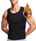 DUROFIT Trajes de Sudoración Cremalleras para Fitness Chaleco Sauna Adelgazante Faja Abdominal Reductora Cinturón de Entrenamiento Chaleco de Sudoracion con Cinturones Dobles Negro L