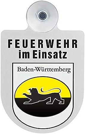Paco Deutschland E K Feuerwehr Im Einsatz Kfz Aluschild Mit Saugnapf Und Bundesland Wappen Baden Württemberg Auto