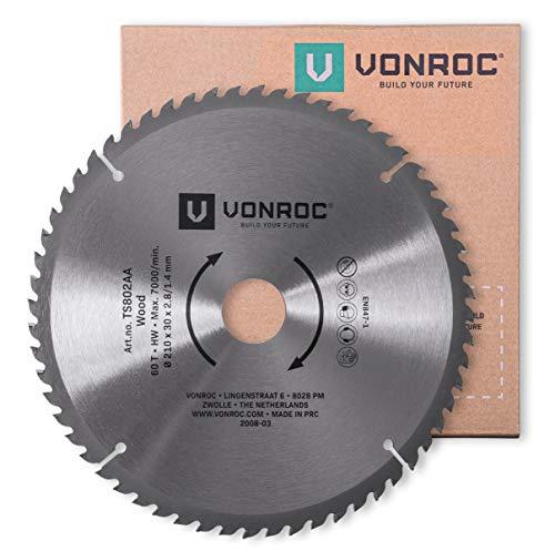 VONROC Lama per sega 210 x 30 mm - 60 denti. Per legno. Adatto per seghe da banco e troncatrici
