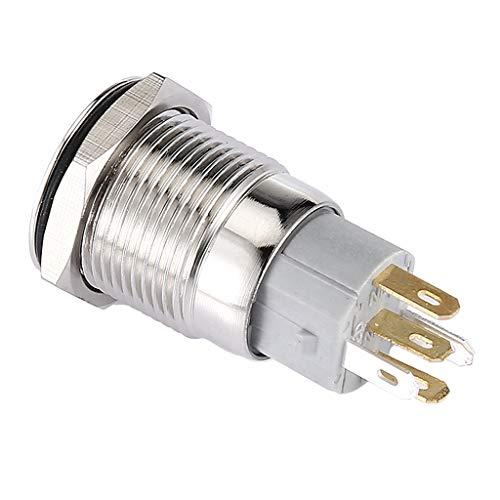 H HILABEE Interruptor de Botón Pulsador de Enclavamiento de Metal de Aluminio Impermeable 12V LED Blanco 19mm