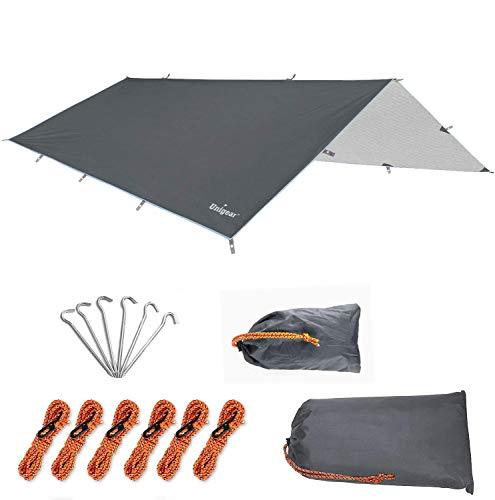 Unigear Toldo Lona Tienda de Campaña Impermeable Carpas Camping Parasol para Tienda Plegable Sombrilla Refugio Portátil Ligero a Prueba de Agua Viento Lluvia Excursiones (300 * 500cm, Gris)