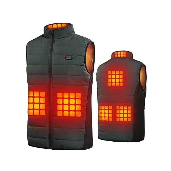 Heated Vest for Men, with 2 Controls and 6 Heating Zones(No Battery Pack)