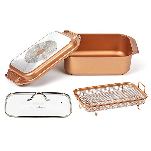 14 In 1 Multi-Use Copper Chef Wonder Cooker with roasting pan and lid, Multi-Use Grill pan (12.5 QT 4 Piece Set)