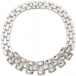 Swarovski Women's Stainless Steel Crystal Collars Necklace, 23.82 cm - 5077499