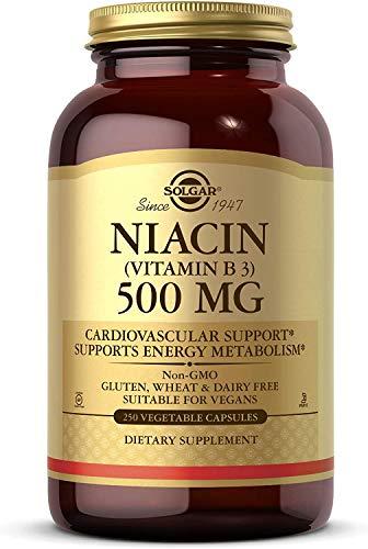 Solgar Niacin (Vitamin B3) 500 mg, 250 Vegetable Capsules - Cardiovascular Support - Energy Metabolism - Non-GMO, Vegan, Gluten Free, Dairy Free, Kosher - 250 Servings