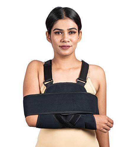 Écharpe de bras, épaules – Meilleur support rotatif entièrement réglable et support de coude – Comprend une bande d'immobilisation pour une récupération rapide – pour homme et femme