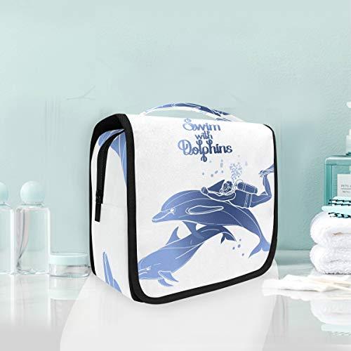 Mr.XZY Bolsa de maquillaje con estampado de delfines, bolsa de cosméticos para buceo, diseño de animales, multifunción, portátil, con cremallera, bolsa de aseo para mujeres y niñas 2011222