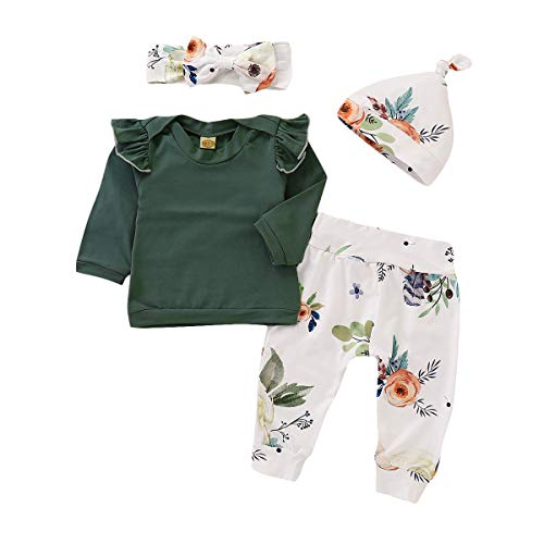 T TALENTBABY Neugeborenes Kleinkind Baby Mädchen Rüschen Schulter Top + Floral Pants + Hut + Bogen Stirnband Kleidung Sets Outfits Geschenke, Grün Weiß, 6-12 Monate