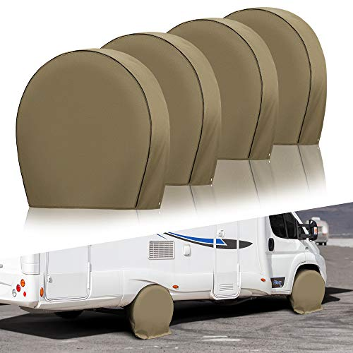 Kohree Tire Covers for RV Wheel Heavy Duty 600D Oxford Motorhome Wheel Covers, Waterproof PVC Coating Tire Protectors for Trailer Truck Camper Auto, Fits 26.75inches-29inches Tire Diameters Set of 4