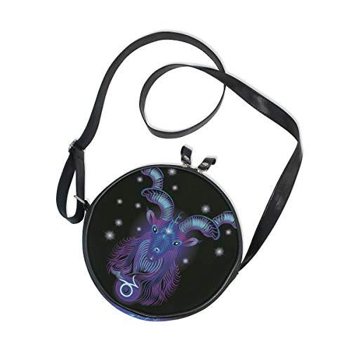 Constellation Zodiac Signs Capricorn Round Crossbody Bag Messenger Purse