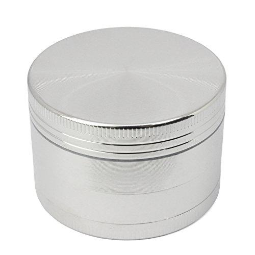 """LIHAO 2\"""" Grinder 4 Piezas Grinder Metálico con Rascador Polen para Hierbas y Especias (5cm, Plata)"""