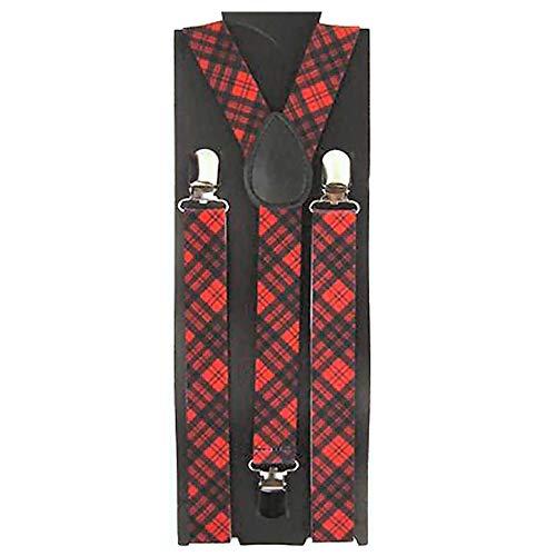 Paire de bretelles à motif tartan rouge et noir de 2,5 cm de large réglable avec ajusteurs métalliques et boutons-pression