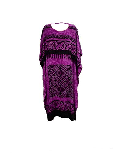 Cool Kaftans New Celtic Kaftan Caftan Dress Plus One Size Cool Soft - Purple Black - FS