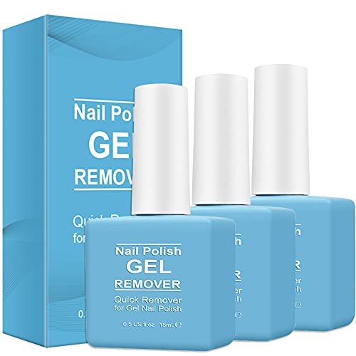 3 Pack Nail Polish Remover, Gel Remover for Nails - Removes Nail Polish in 5-6 Minutes, Quickly & Easily, No Need Tin Foil & Don't Hurt Nails (Blue)
