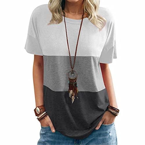 ZFQQ Camiseta Suelta de Manga Corta con Cuello Redondo y Bolsillo en Color de Contraste para Mujer de Primavera y Verano
