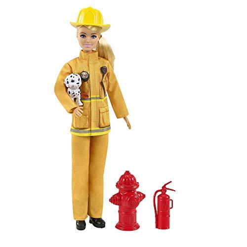 Barbie Bombera Muñeca con Traje de bombera, Perrito de Juguete y Accesorios para Luchar contra el Fuego (Mattel GTN83)