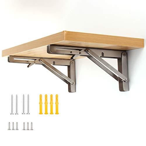 1 par 10'/ 250 mm Soportes de estante plegables de, soporte de pared plegable, Adecuado para fabricar una variedad de bancos de trabajo plegables que ahorran espacio. Con tornillos de montaje