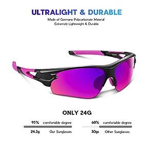 Gafas de Sol Polarizadas - Bea·CooL Gafas de Sol Deportivas Unisex Protección UV con Monturas Ligeras para Esquiando Ciclismo Carrera Surf Golf Conduciendo (Rosa)