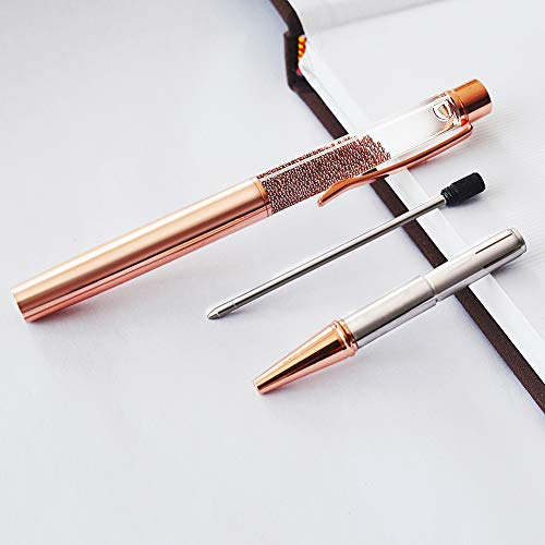 ZZTX 3 Pcs Rose Gold Ballpoint Pens Metal Pen Bling Rose Gold Dynamic Liquid Caviar Pen With Refills Black Ink Office Supplies Gift Pens For Christmas Wedding Birthday Photo #6