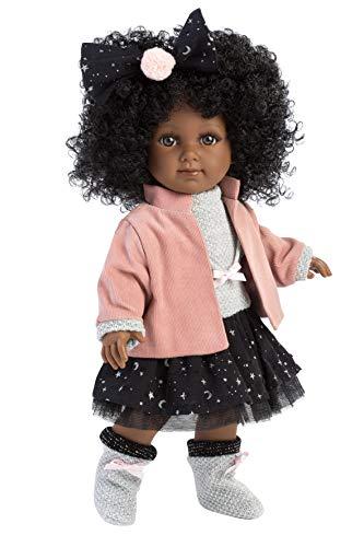 Llorens 53526 schwarzhaarig Puppe Zuri mit schwarzen Locken und braunen Augen, Fashion Doll mit weichem Körper, inkl. trendigem Outfit, 35cm, Mehrfarbig