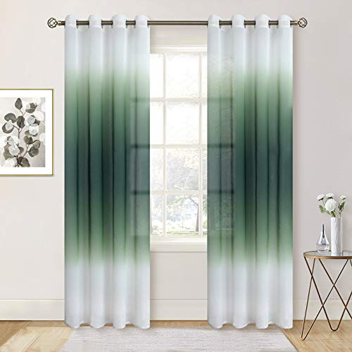 BGment Faux Linen Ombre Sheer Window Curtains for Living Room, Grommet Linear Gradient Light Filtering Semi Voile Sheer Curtain Panels for Kids Room, Set 2 Panels (Each 52 x 95 Inch, Emerald)