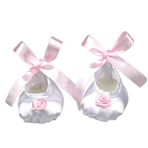 ZYCX123 1 Paar Puppe Schuhe Schöne Silk Puppe Schuhe mit rosa Band-Blume für 18 Zoll Entzückende Mädchen Puppe (weiß)