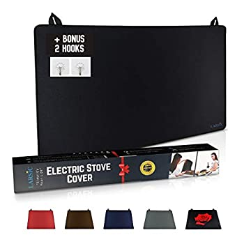Larsic Stove Cover - Protects Electric Stove Washer Dryer Top Anti-Slip Coating Waterproof Ironing Mat Stove Washer Dryer Gap Foldable Prevent Scratching Expands Usable Space  28.5X20.5 Black