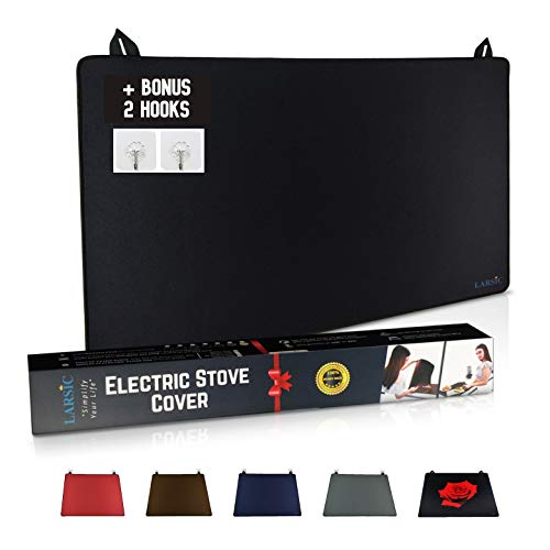 Larsic Stove Cover - Protects Electric Stove Washer Dryer Top. Anti-Slip Coating Waterproof, Ironing Mat, Stove Washer Dryer Gap, Foldable. Prevent Scratching, Expands Usable Space (28.5X20.5, Black)