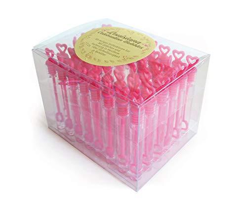 WeddingTree Seifenblasen Set in pink - 48 teilig Herzgriff - herzallerliebst für Hochzeit Taufe Geburtstag Goldene Hochzeit Verlobung Valentinstag Gastgeschenk Party