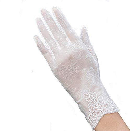 Damen-Sonnenhandschuhe, UV-Schutz, Sommerhandschuhe, kurz, florale Spitze, rutschfeste Screentouch-Handschuhe, elegant, Sonnenblock, Angeln, Wandern, Radfahren, Hochzeit, Braut, weiß, Einheitsgröße