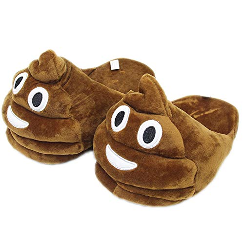 Qianyuyu Emojis Slippers Smile Face Poo Novelty Gift Unisex Kids Smiley Poop Winter Plush Indoor Funny Slippers for Girl Boy