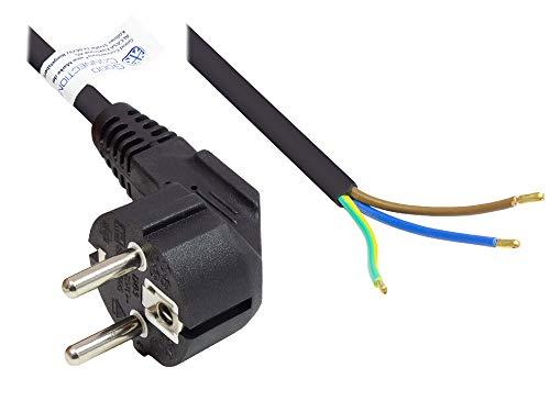 Good Connections P0185-S050 Netzkabel, 5 m, Schutzkontakt-Stecker Typ E+F (CEE 7/7, gewinkelt) an abisolierte Enden, Stromkabel zum Konfektionieren, 1,00 mm² Schwarz