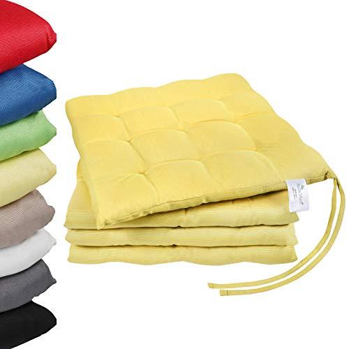 NatureMark 4er Set Stuhlkissen mit Bändern Gr. 40x40 cm Sitzkissen gefüllt, Gelb