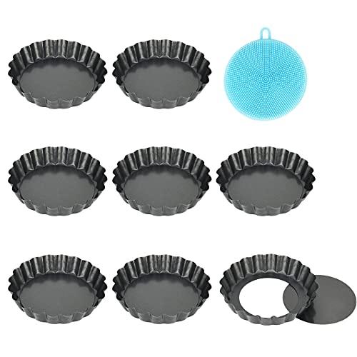 8 Stück Tarteform mit Hebeboden , Antihaftbeschichtung Quicheform Klein 10 cm / 4 Zoll X8 Rund Pie Form , Tartelette Förmchen aus Kohlenstoffstahl , Highkit