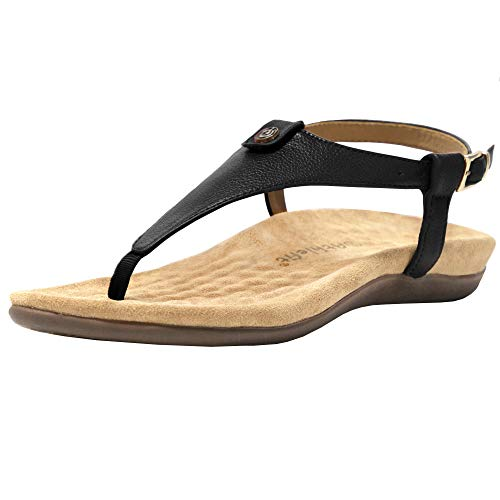Athlefit Womens Comfortable Thong Sandals Dressy T-Strap Backstrap Sandal Orthotic Arch Support Orthopedic Walking Sandals Black 8